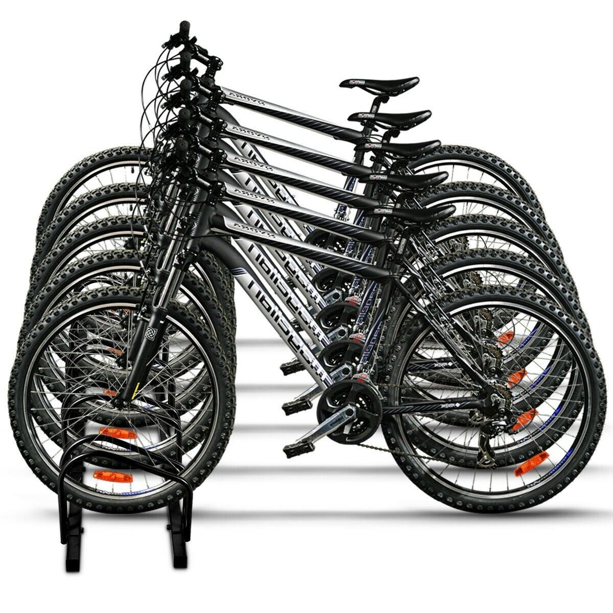 Five Bike Wheel Rack Storage Organizer Floor Mount Vertical