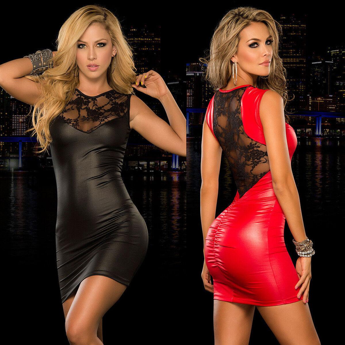 Schwarz Mini Kleid Spitze Lack rückenfrei Abendkleid kurz sexy Clubwear Party