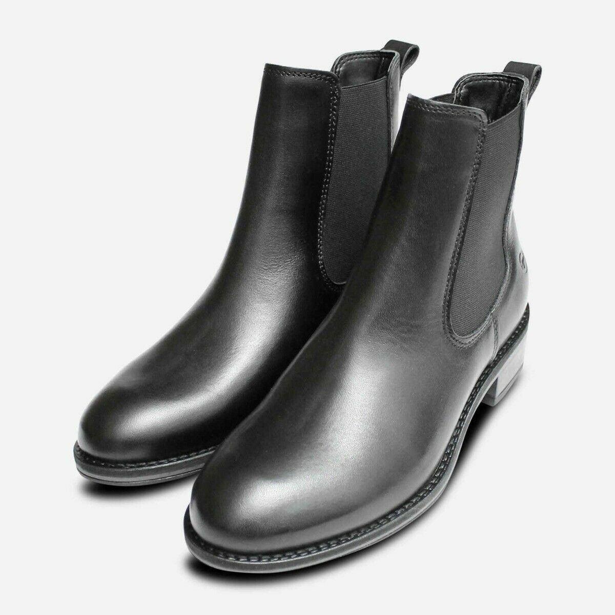 Black Leather Tamaris Ankle Chelsea Boots for Women