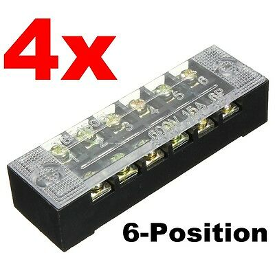 4pcs Blockstrip 6 Position 600v 15a Wire Barrier Dual Row Screw Terminal Panel