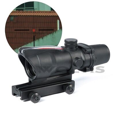 Tactical ACOG 308 ACOG TA31 Crosshair Red Illuminated BDC 4x32 Optic Fiber Scope