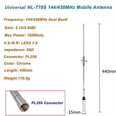 45 Db Dual-band (1 Pcs NL-770S  Dual Band UHF/VHF 2m 144/ 430MHz Radio Mobile - Station Antenna )