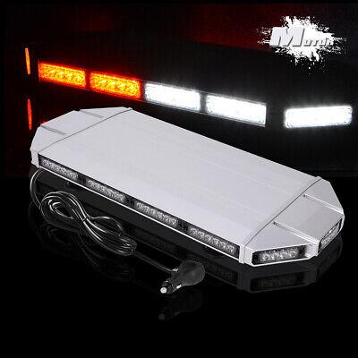 72 LED Amber/White Roof Top Bar Enforcement Emergency Flashing Strobe Light 12V Base Rectangle Magnet