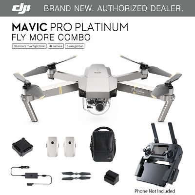 DJI Mavic Pro PLATINUM - Fly More COMBO Drone - 4K Stabilized Camera ActiveTrack
