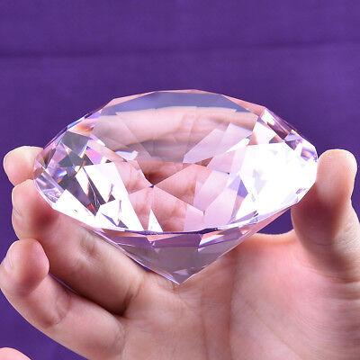 80mm Big Pink Crystal Glass Cut Giant Diamond Jewel Paperweight Wedding Decor