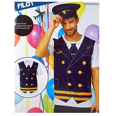 Herren Pilot Kostüm Shirt Karneval Fasching (Kapitän Kostüm Shirt)