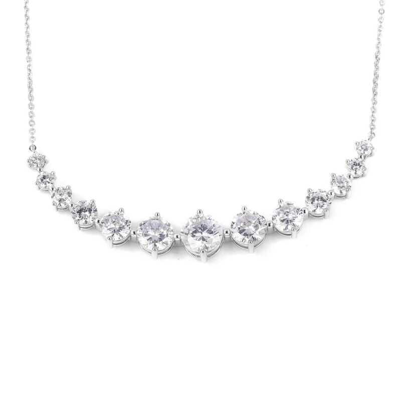 """White Cubic Zirconia CZ Fashion Bar Necklace for Women Gift 18-20"""" 22.25 Ct"""