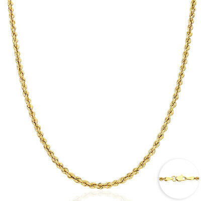 "14K Yellow Gold 3.5mm Thick Rope Link Chain Necklace 20""- Real Gold"