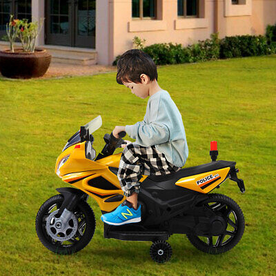 12V Kids Electric Ride-On Motorcycle Toy w/ Training Wheels, Lights, Music ()
