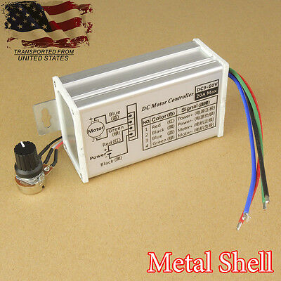 9-60v Max 20a Pwm Dc Motor Variable Speed Control Stepless Controller Switch New