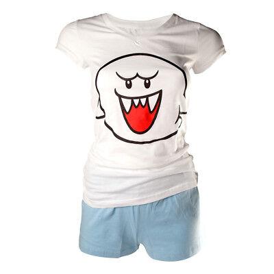 Nintendo Shortama White/Blue Boo Pyjama Pajamas Women Damen Size Größe XL