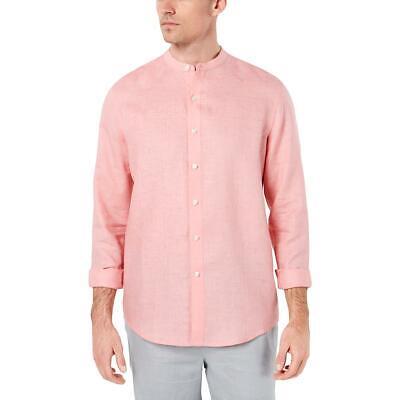 Tasso Elba Mens Linen Band Collar Casual Button-Down Shirt BHFO 9318
