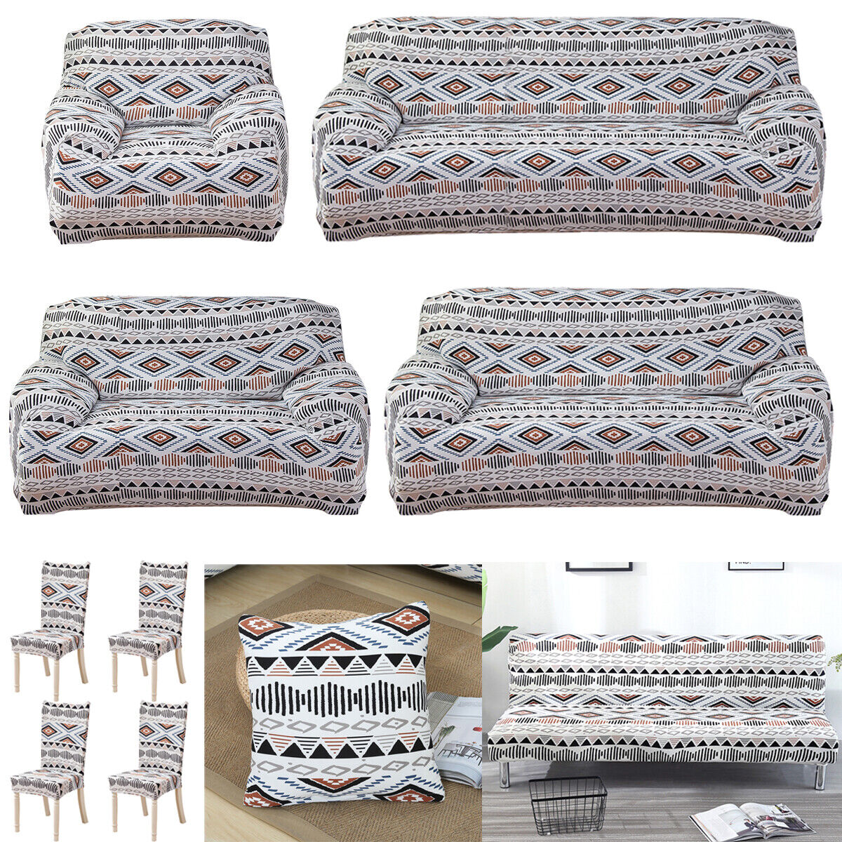 1/2/3/4 Seater Elastic Sofa Cover Slipcover Couch Arm Chair