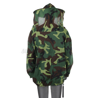 Adult Camouflage Beekeeping Jacket Protective Veil Bee Keeping Suit Hat Smock