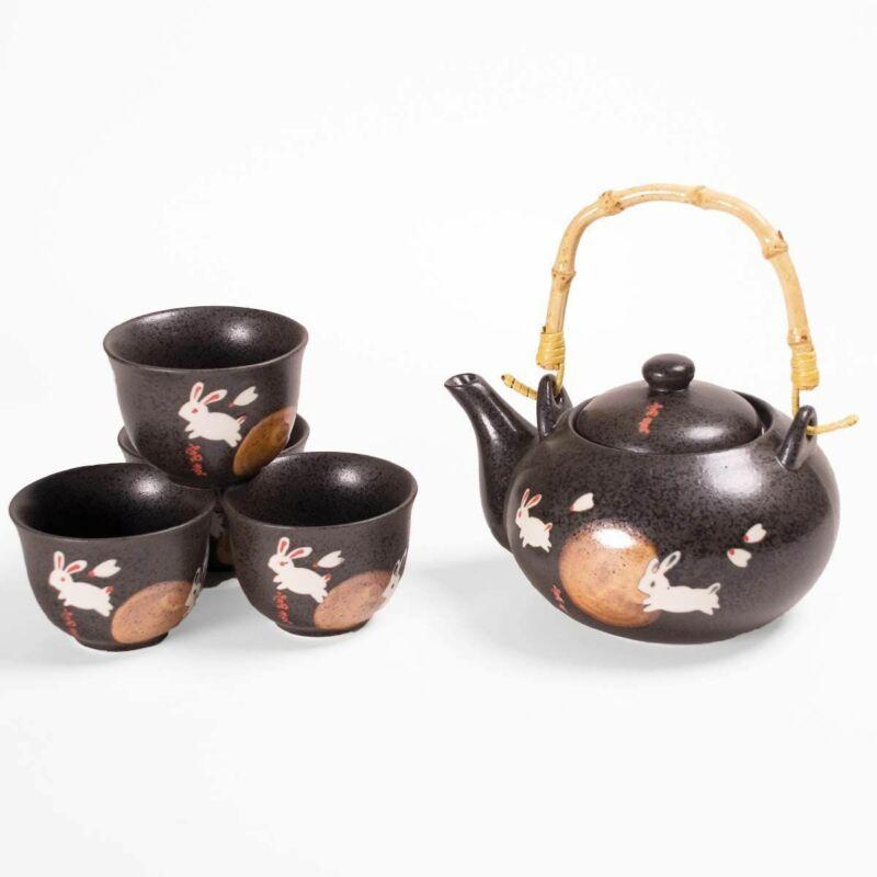 Japanese Moon Rabbit Design Ceramic 20 fl oz Tea Pot 4 Cups Tea Set