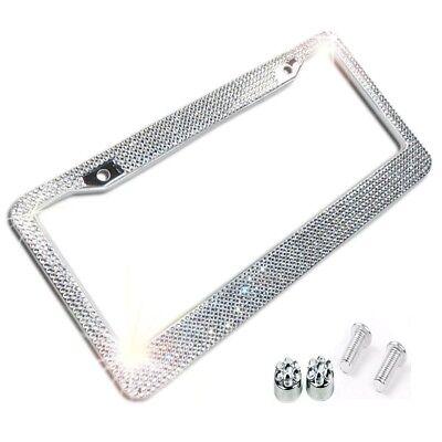 Metal License Plate Frame Bling Rhine Stones Chrome Crystal Diamond