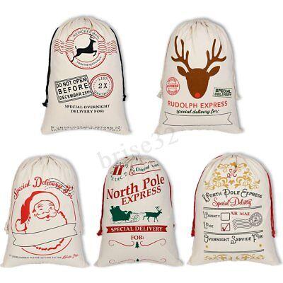 Large Christmas Gift Candy Bags Canvas Santa Drawstring Sack Party Xmas Decor (Santa Drawstring Bags)