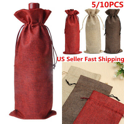 10x Linen Bags Wedding Holiday Parties Decor Wine Bottle Bags Gift Pouch