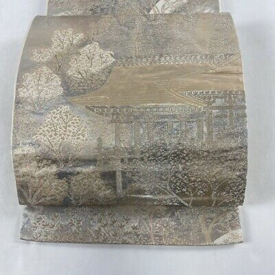 Fukuro obi Excellent goods Tree Gold and silver thread Silver Six Pure silk