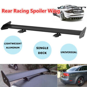 Universal Car Aluminum Adjustable GT Style Truck Rear Racing Spoiler Wing Black
