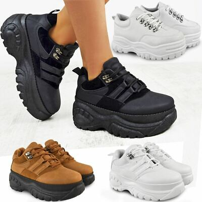 Womens Ladies High Platform Trainers Sneakers Retro Boots Chunky Rock Punk Goth ()