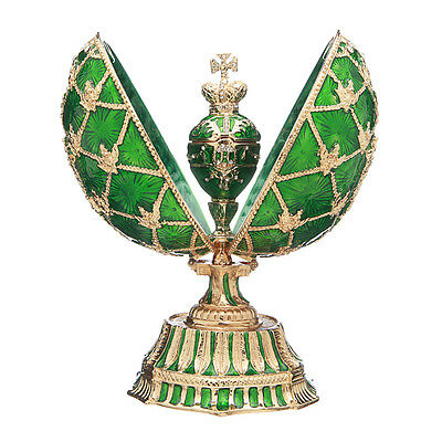 Faberge Egg with Russian Coat of Arms Emperor's Crown & Clock 5.7'' 14.5cm green, used for sale  Shipping to United States
