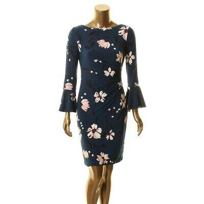 LAUREN RALPH LAUREN NEW Women's Floral Pleated Bell Sleeve Sheath Dress 2 TEDO