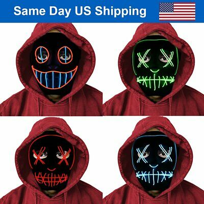 Halloween Party For Children (Halloween LED Purge Masks EL Wire/3 Modes Costume Party for Kids Audlt)