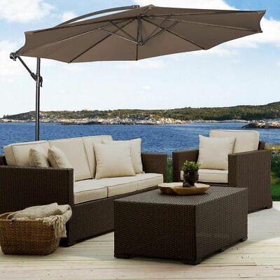 10' Ft Hanging Umbrella Patio Sun Shade Offset Outdoor Market W/ Cross Base -