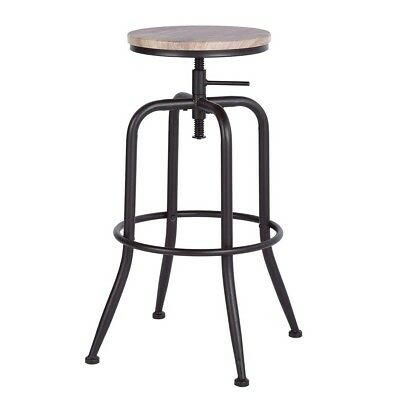 - Vintage Industrial Stools Swivel Bar Black Counter Wood Seat Metal Pub Set Of 2