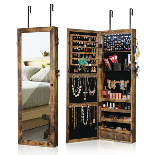 Rustic Wall Door Mounted Jewelry Cabinet Organizer Storage B