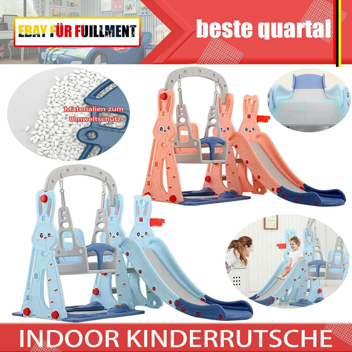 4in1 Kinderrutsche & Schaukel Basketballkorb Kletterleiter Baby Außen Innen 1.3m