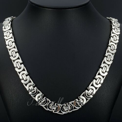 """Jewellery - 11mm Men's Silver Flat Byzantine Chain Necklace 316L Stainless Steel 18""""-36"""""""