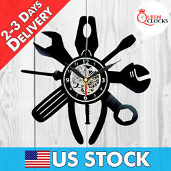 Garage Wall Clock Workshop Work Shop Vinyl Record Art Decor Mans Cave Tool Gifts