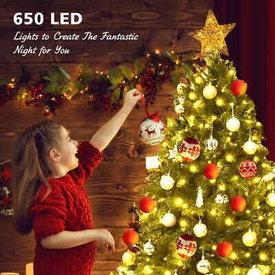 6ft Pre-lit PVC Christmas Tree Hinged 8 Flash Modes Giftw/ 650 LED