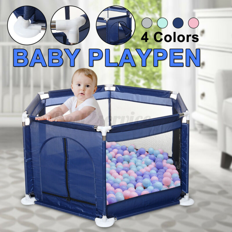 Baby Playpen Interactive Kids Play Playard Safety 6 Panel Gate Fence Indoor Game