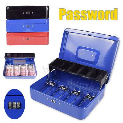 Metal Mini Cash Box Lock Bank Deposit Safe Password Security Tray Storage Box