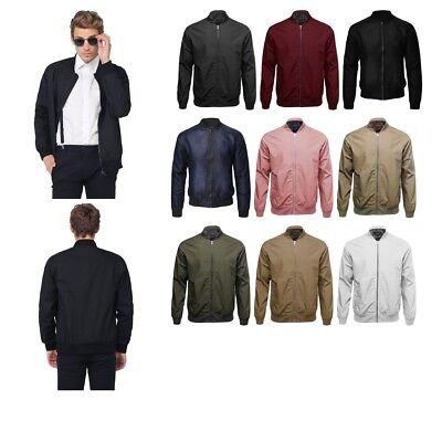 - FashionOutfit Men's Classic Basic Style Zip Up Long Sleeves Bomber Jacket