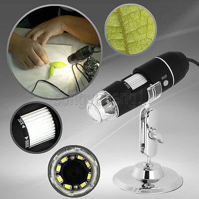 20x800x Usb Digital Microscope Endoscope 2.0 Mega Pixel Magnifier 8led 2mp Grey