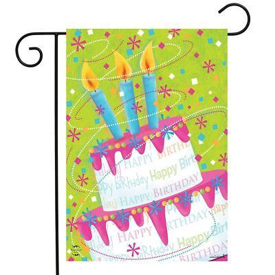 Happy Birthday Garden Flag - Birthday Cake Celebration Garden Flag Happy Birthday 12.5