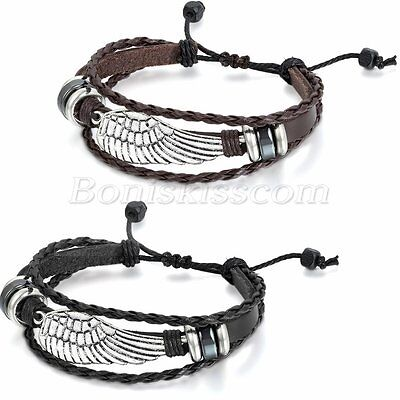 Angel Bracelet (2pcs Men Women Retro Handmade Angel Wings Adjustable Multilayer Leather)