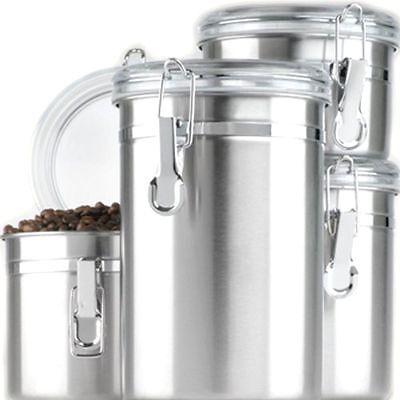 Canister Set 4 Piece Stainless Steel Kitchen Storage Coffee Sugar Tea Flour Lids