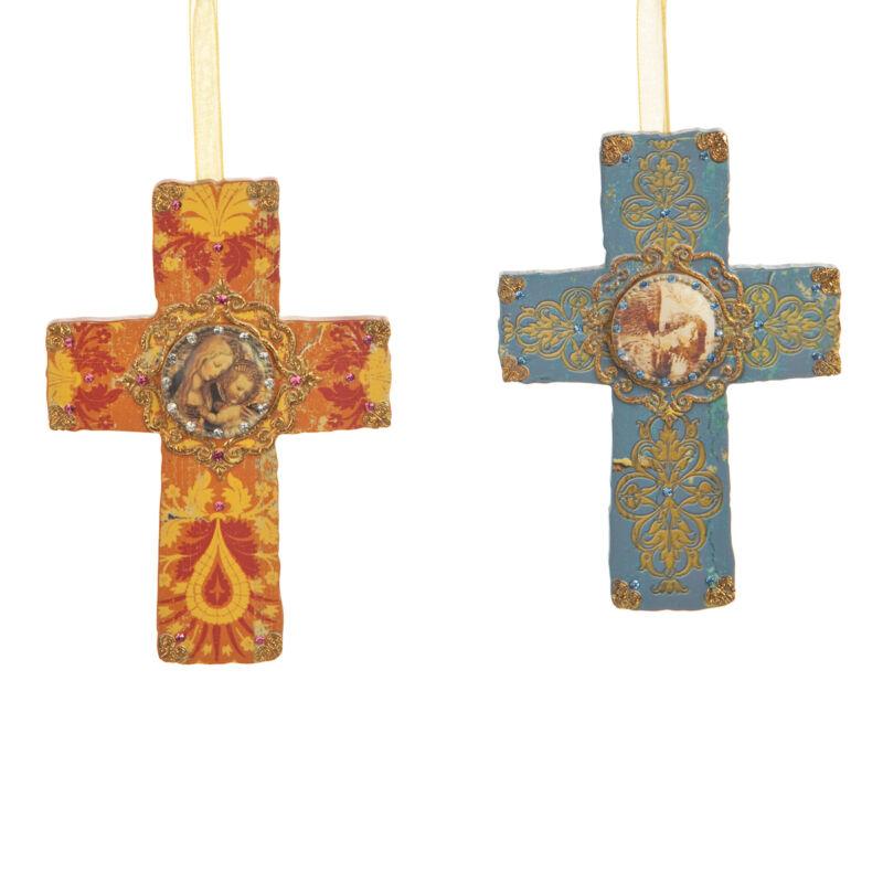 Filigree Cross Ornaments Jeweled Set of 2 Jesus Easter Ornaments NEW