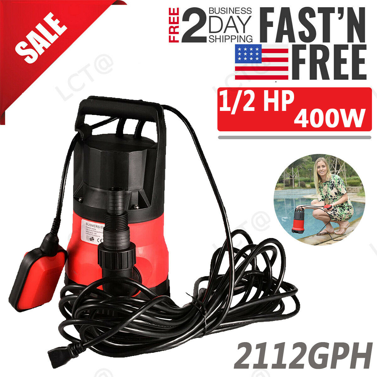 1/2 HP 400W Super Electric Submersible WateR Swimming Pool D