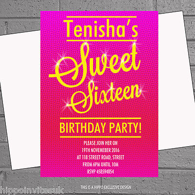 12 x Personalised 16th Girls Birthday Party Invitations Sweet - Personalized Sweet 16 Invitations