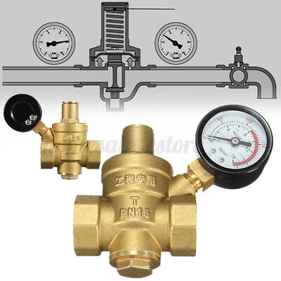 Dn20 Npt 34 Adjustable Brass Water Pressure Regulator Reducer W Gauge Us
