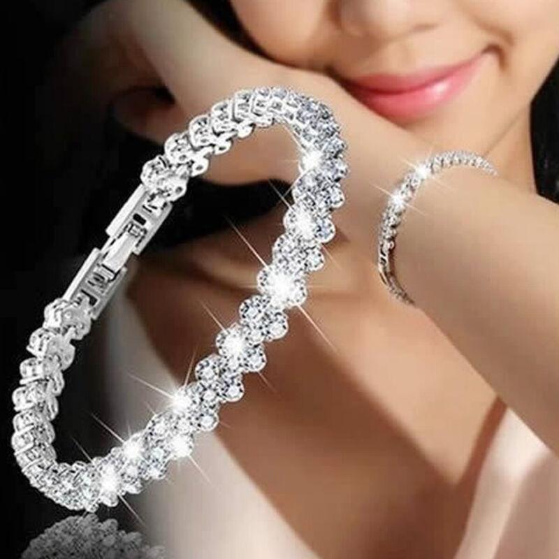 Damen Kristall Damen Strass Silber Armband Armreif Armband Armkette Armschmuck