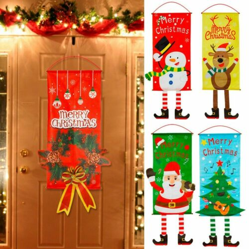2Pcs Merry Christmas Ornament Santa Claus Banner Flag Door Window Hanging Decor
