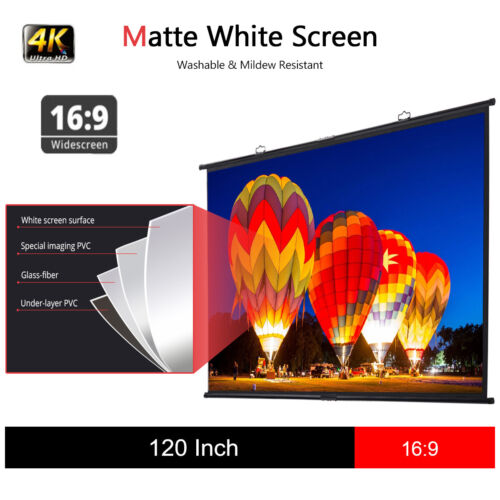 "Excelvan 120"" 16:9 Wall Mount Projection Projector Screen 4K"