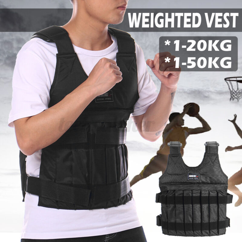 44lb/110lb Adjustable Workout Weighted Vest Training Jacket Waistcoat Fitness